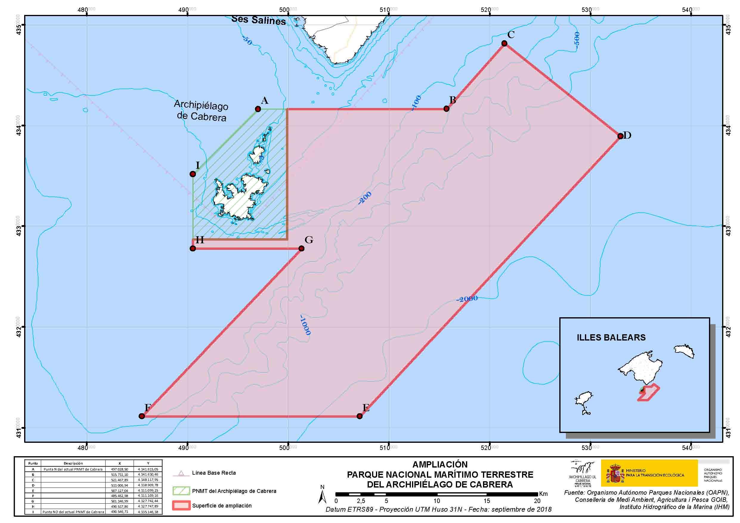 Isla De Cabrera Mapa.Espacios Naturales Protegidos Parque Nacional Maritimo